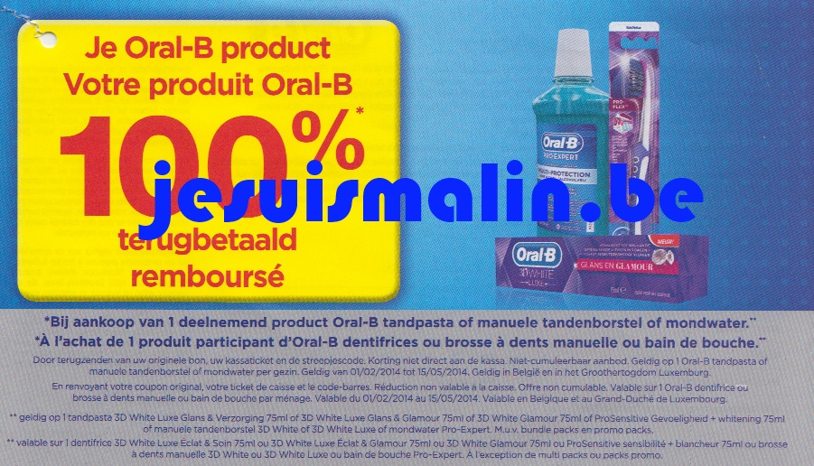 produit oral b 100 rembours 15 05 2014 je suis malin. Black Bedroom Furniture Sets. Home Design Ideas