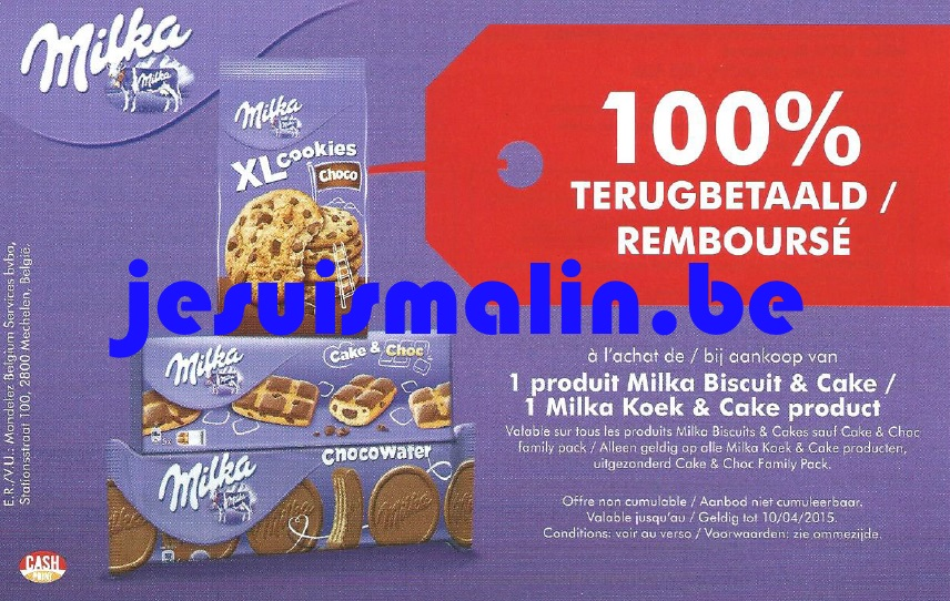milka biscuit cake 100 rembours 10 04 2015 je suis malin. Black Bedroom Furniture Sets. Home Design Ideas