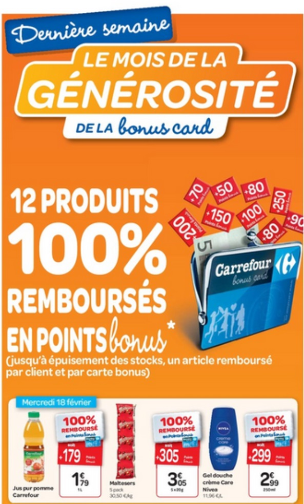 12 produits 100 rembours s en points bonus chez carrefour 23 02 2015 je suis malin. Black Bedroom Furniture Sets. Home Design Ideas